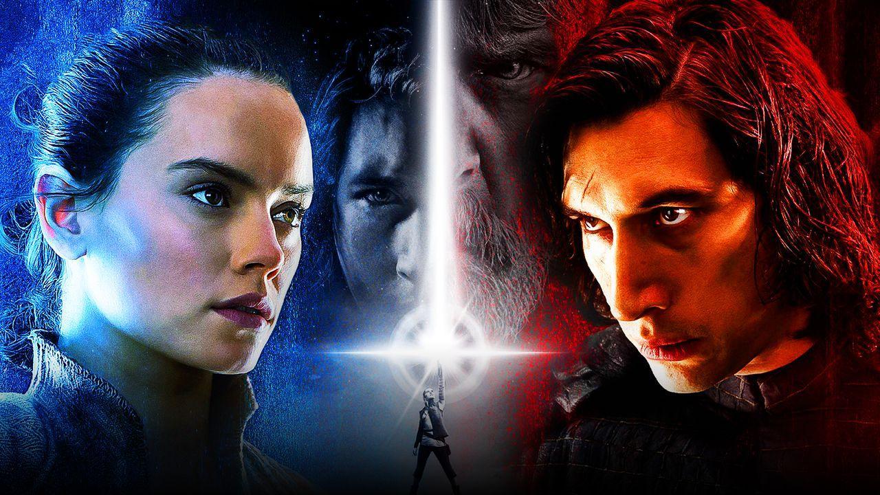 Daisy Ridley as Rey, The Last Jedi teaser poster, Adam Driver as Kylo Ren