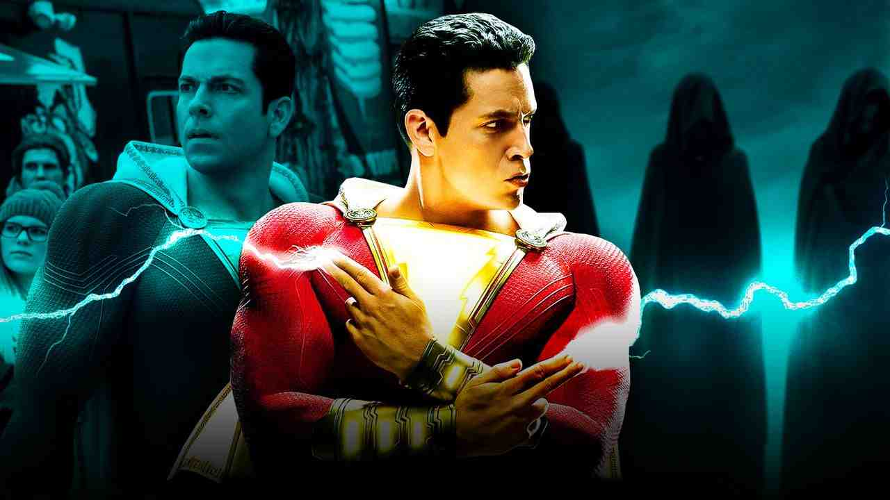 Shazam shooting lightning from his hands