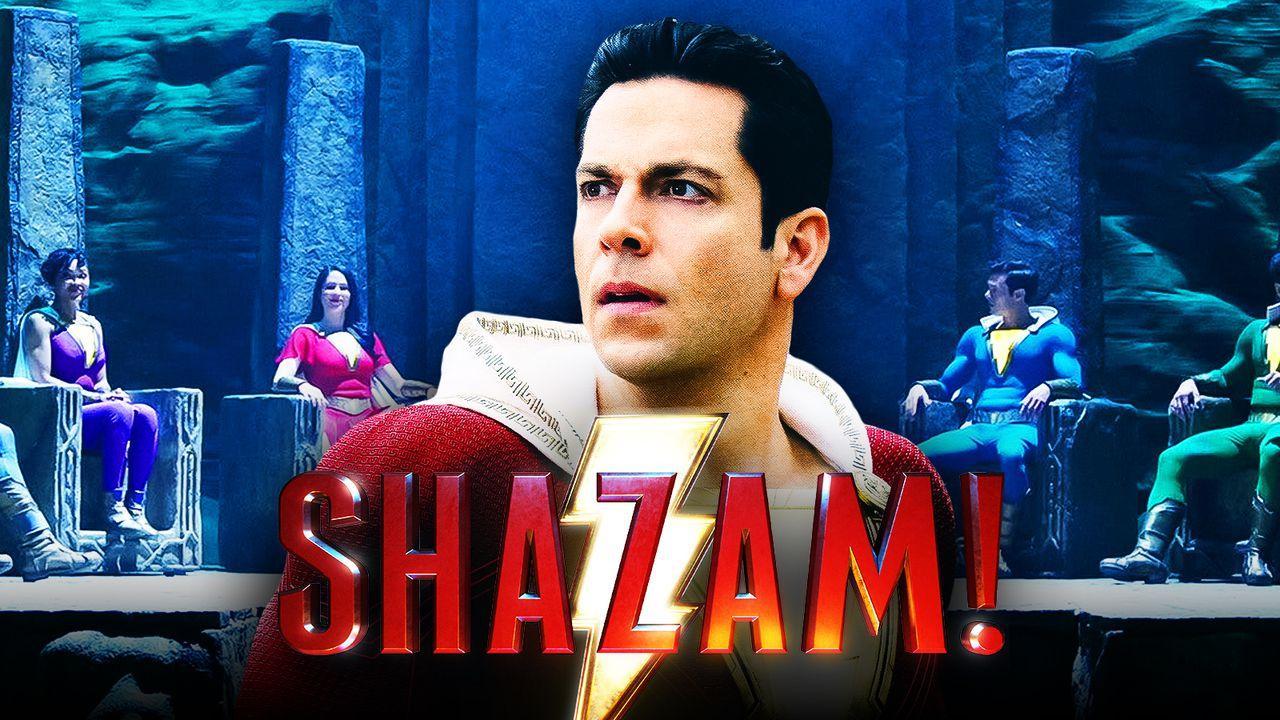 Zachary Levi as Shazam, Shazam logo