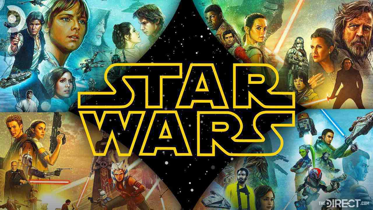 Star Wars Logo, characters from the original, prequel, and sequel trilogy as well as animated shows