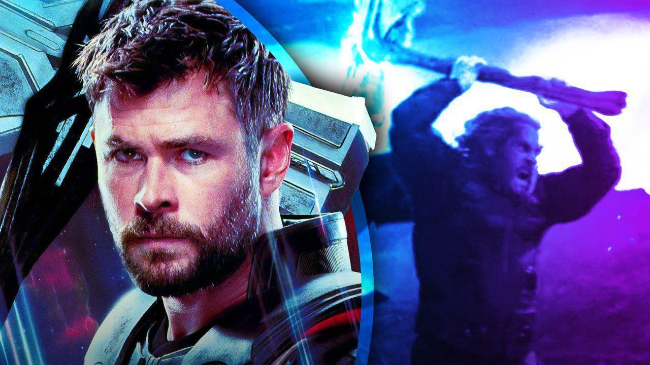 Thor Endgame Poster, Thor using Stormbreaker from Endgame