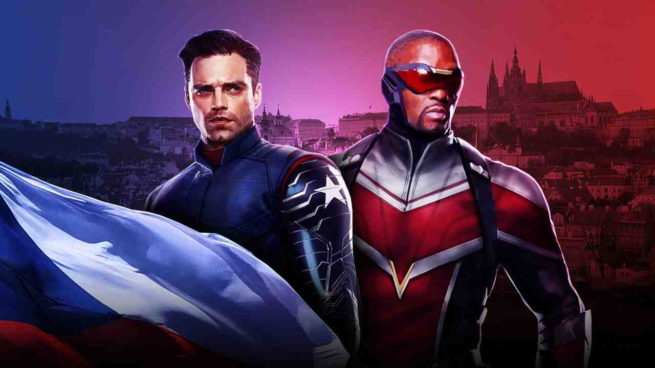 The Winter Soldier on left, Falcon on right, with Moyan Brenn from Italy