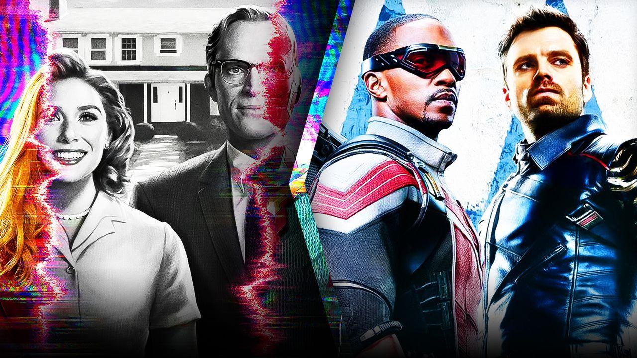 WandaVision poster, Anthony Mackie as Falcon, Sebastian Stan as Bucky