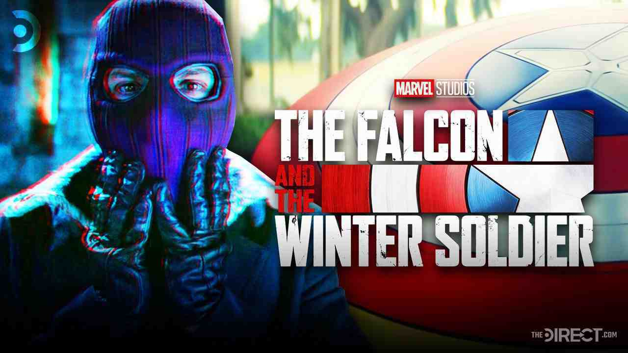 Zemo on left with The Falcon and the Winter Soldier Logo on right
