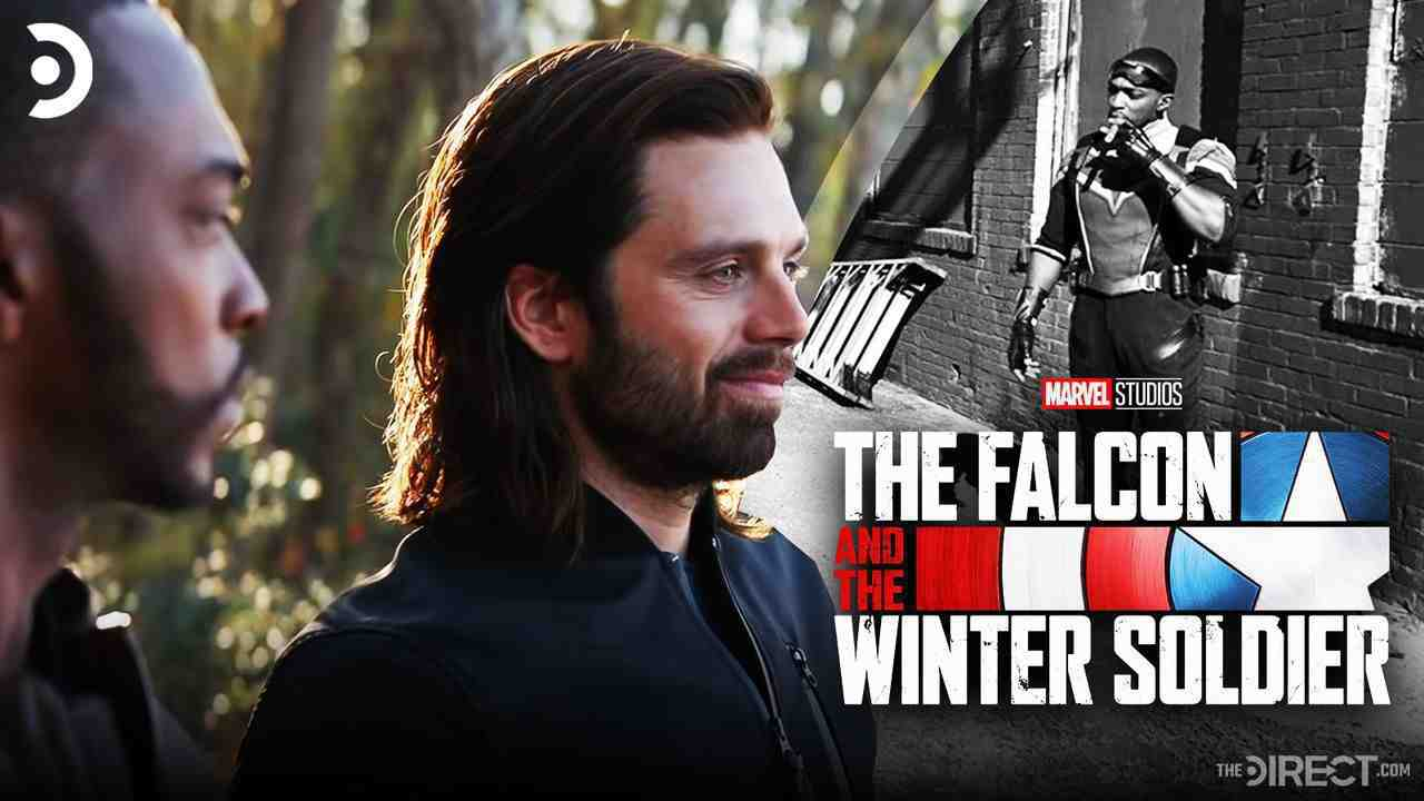 Anthony Mackie and Sebastian Stan, The Falcon and the Winter Soldier logo, Anthony Mackie suited up