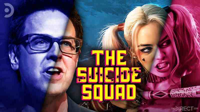 James Gunn and Harley Quinn with Suicide Squad logo