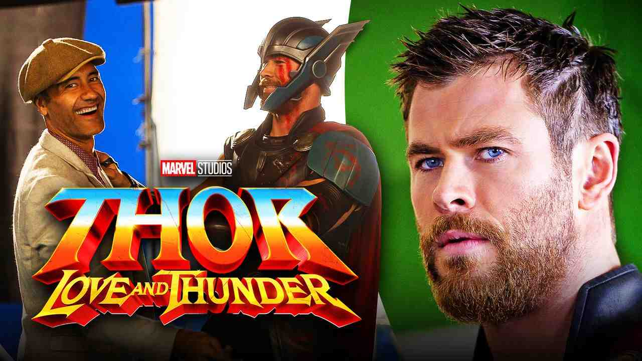 Chris Hemsworth and Taika Waititi on left with logo in foreground and Thor on right