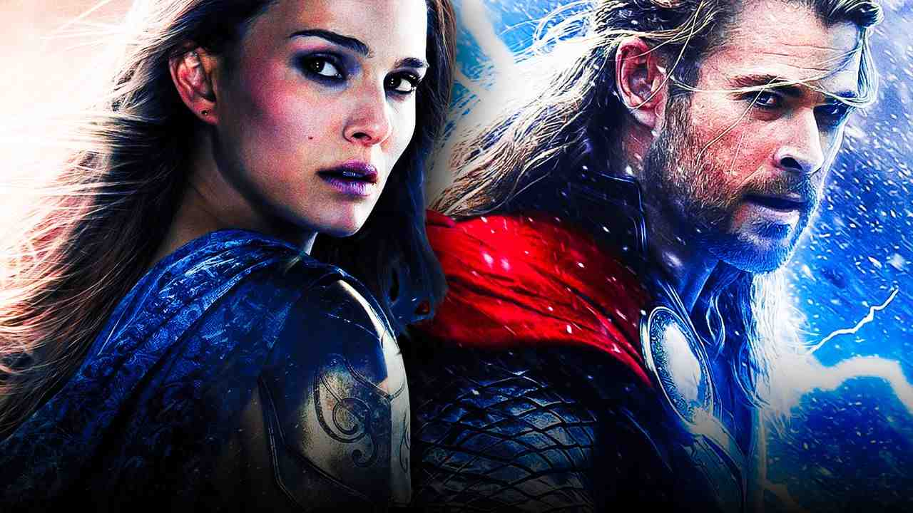 Jane Foster on left and Thor Odinson on right