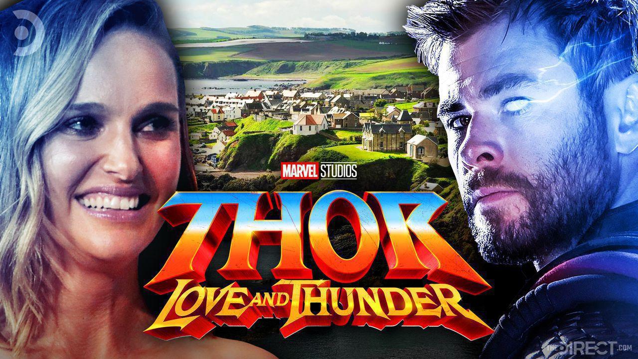 Natalie Portman on left, Chris Hemsworth on right, Thor: Love and Thunder logo in middle