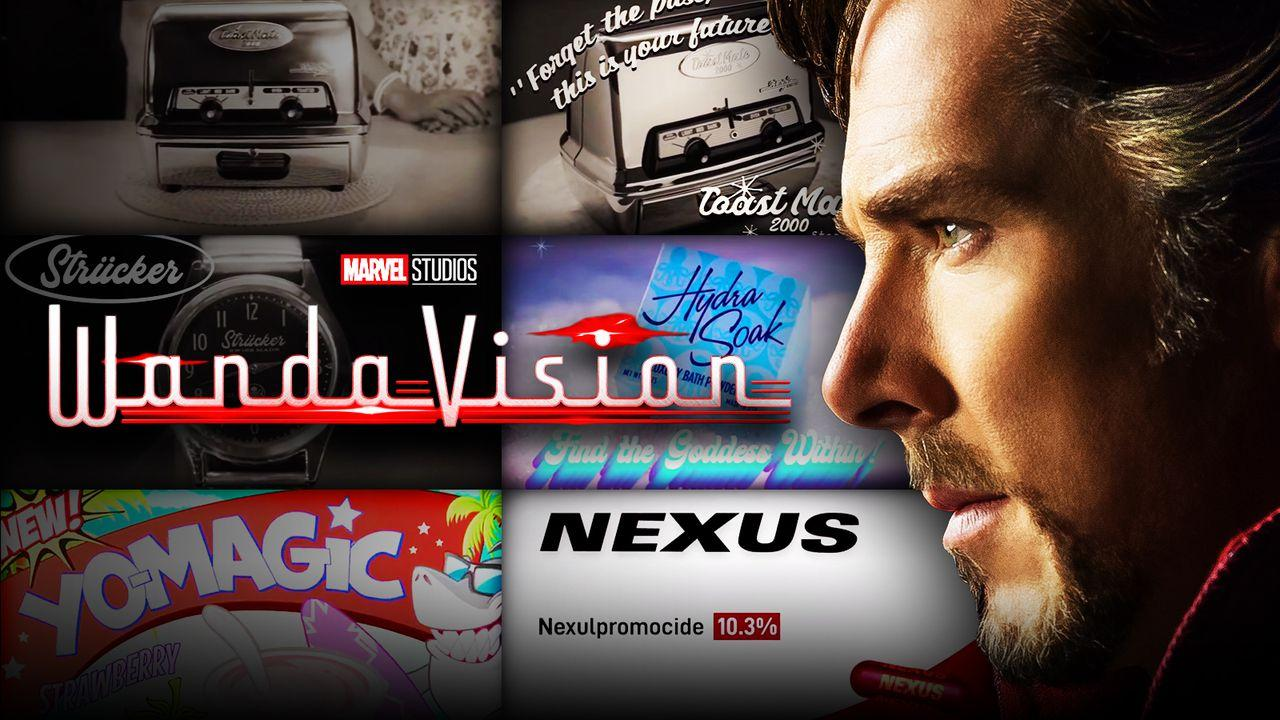 Benedict Cumberbatch's Doctor Strange in front of logos for WandaVision's commercials