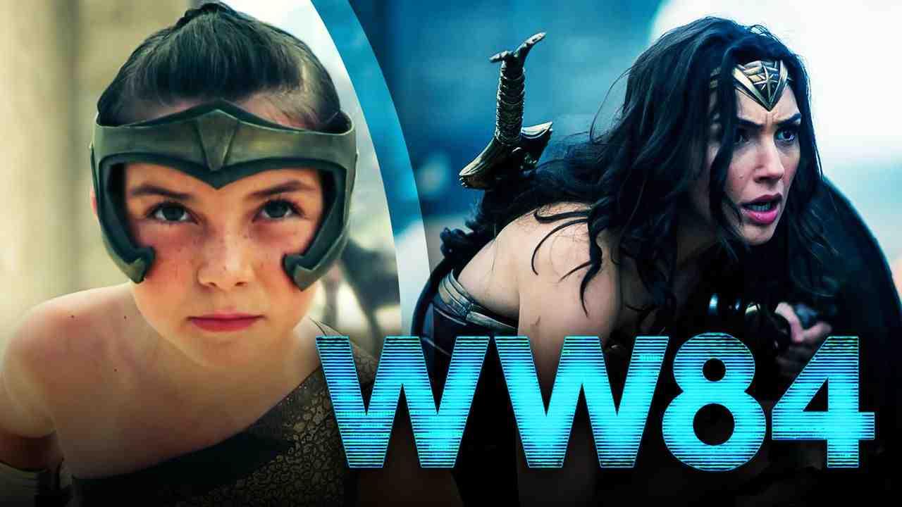 Lily Aspell as Diana Prince, Gal Gadot as Wonder Woman, Wonder Woman 1984 logo