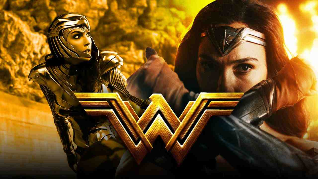 Wonder Woman wearing golden armor and silver bands with logo in foreground