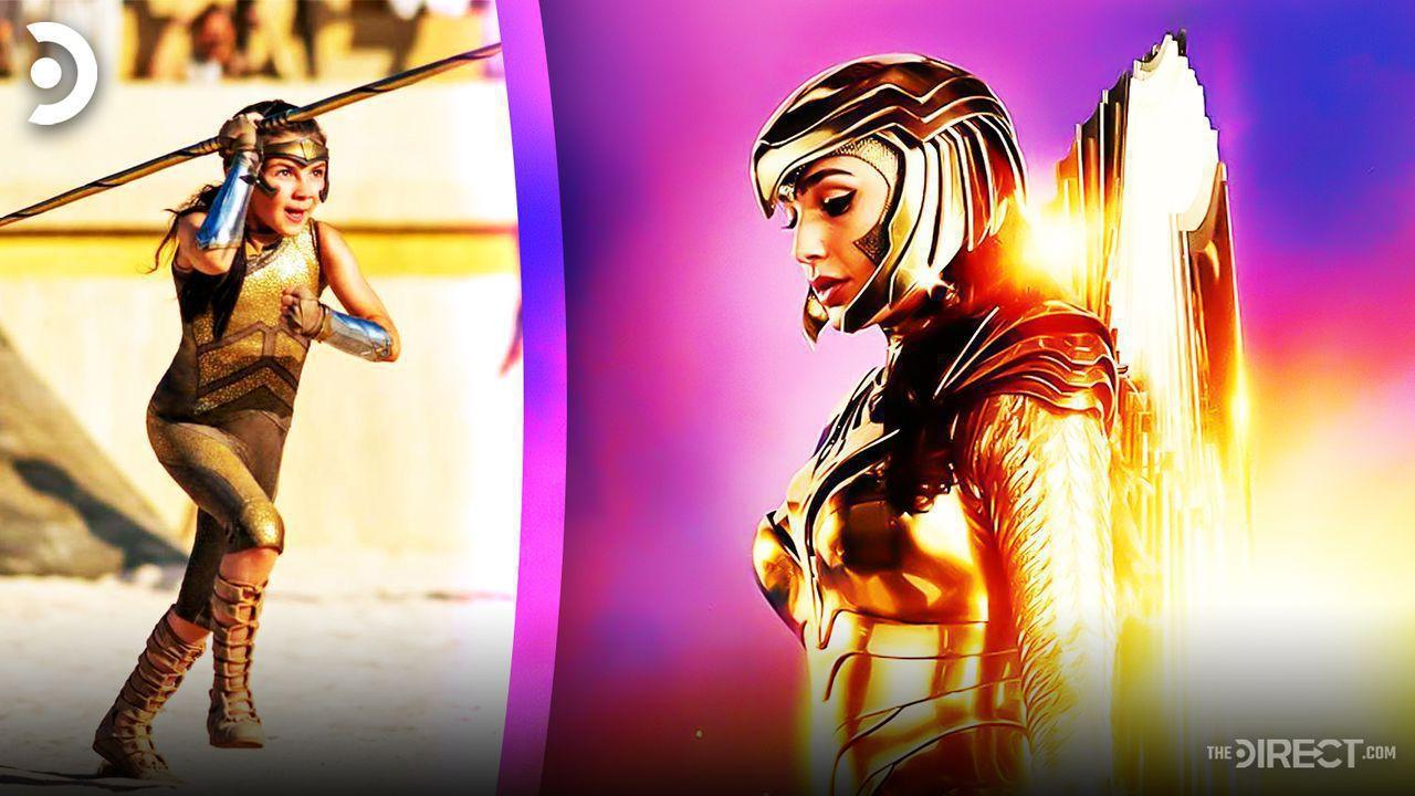 A young Diana on left with Wonder Woman in golden armor on right
