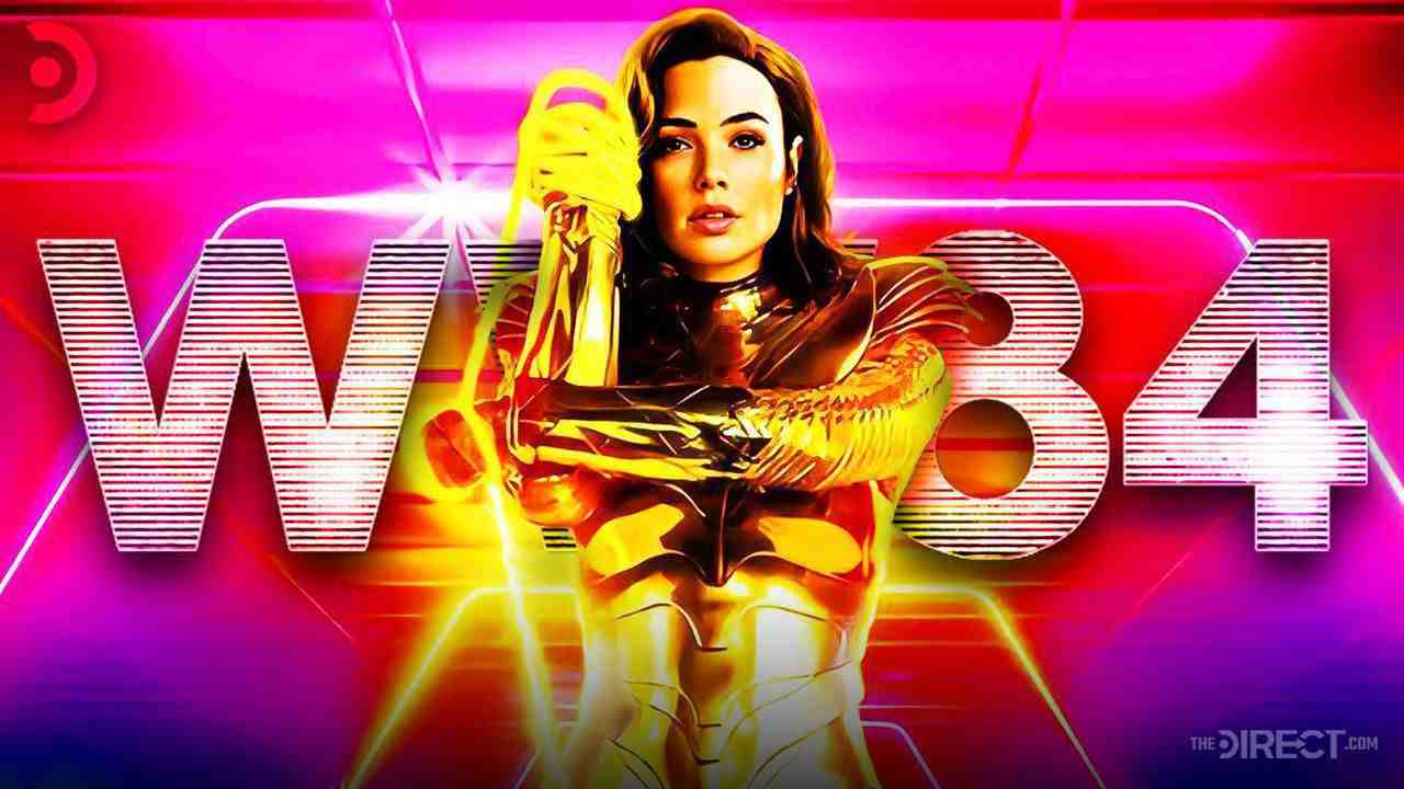 Wonder Woman in her golden armor with her logo behind her