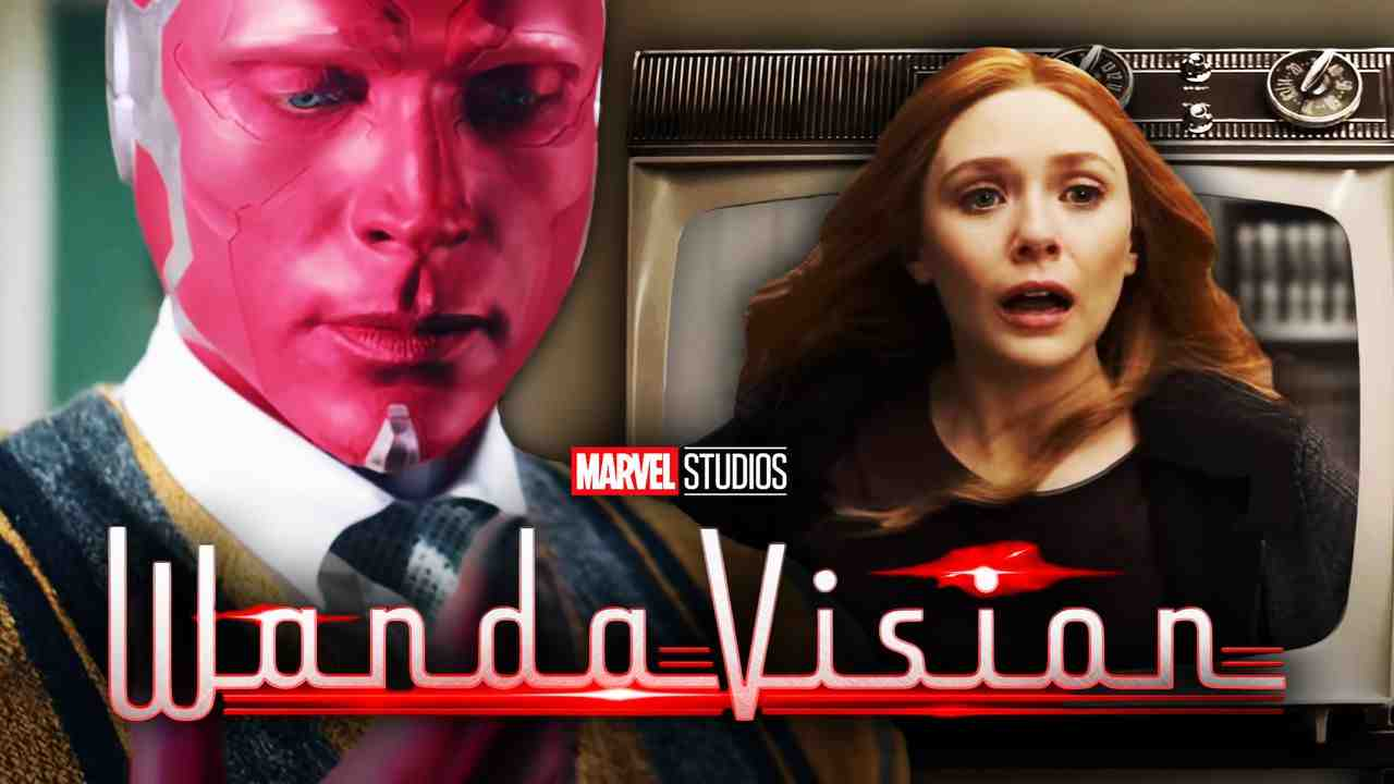 Vision on left with Wanda in television on right