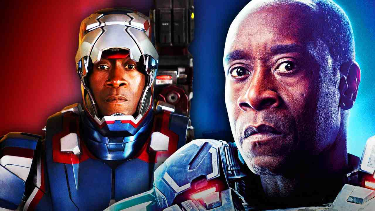 Iron Patriot with mask up, Don Cheadle as Rhodey
