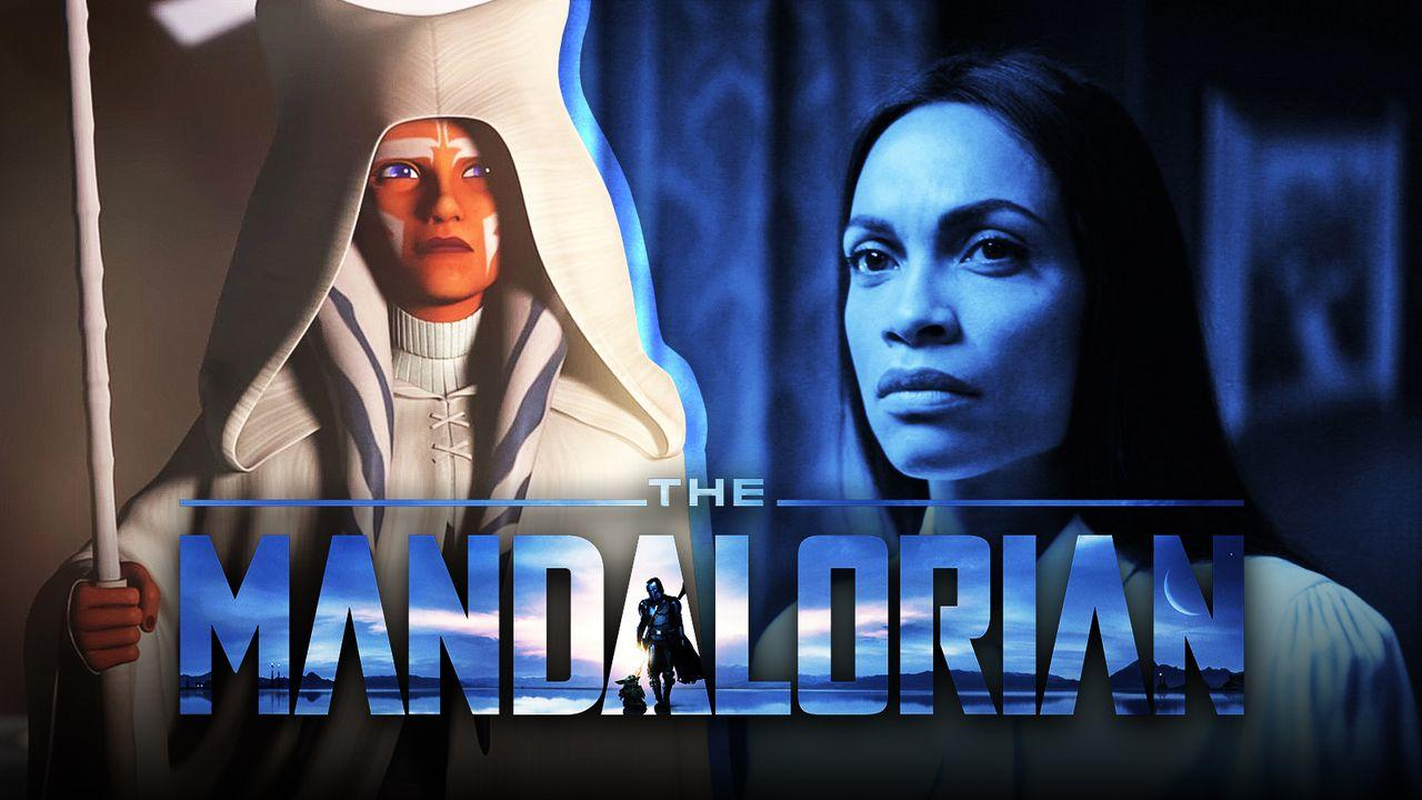 Ahsoka, The Mandalorian logo, Rosario Dawson