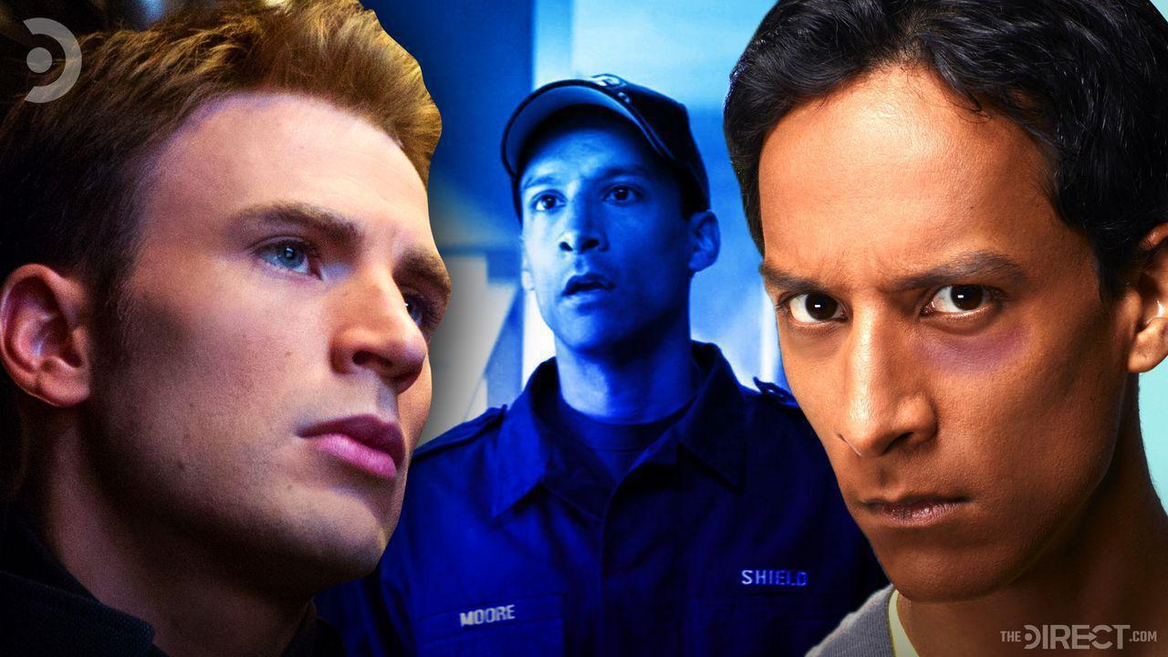 Chris Evans as Captain America, Danny Pudi as a SHIELD Agent, Danny Pudi close up