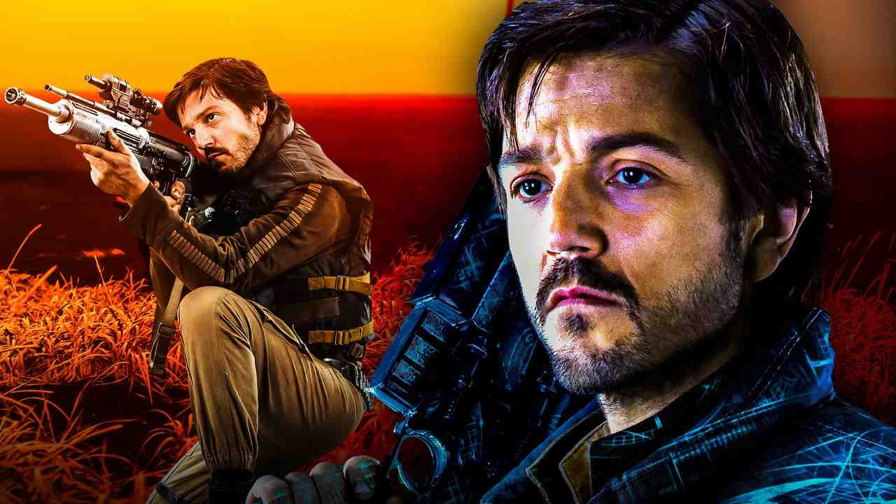 Cassian Andor with gun, Diego Luna as Cassian Andor closeup
