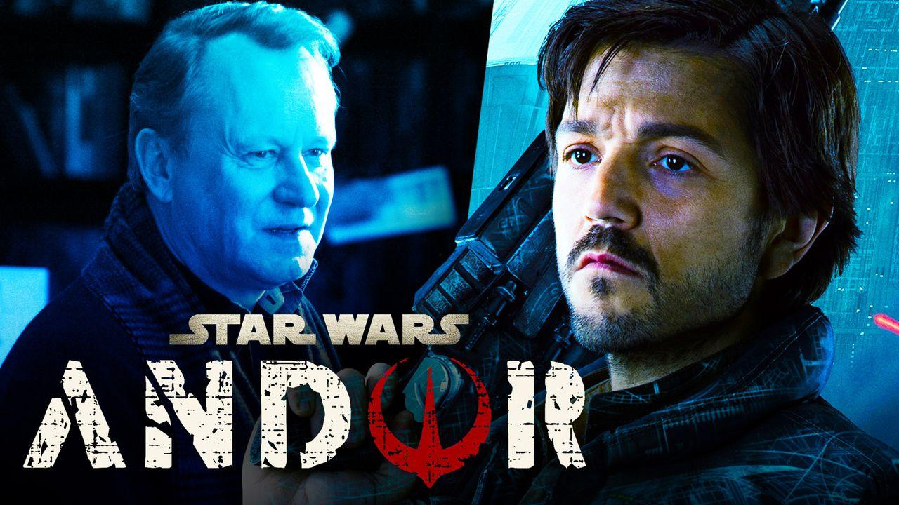 Stellan Skarsgård, Diego Luna as Cassian Andor, Star Wars Andor logo