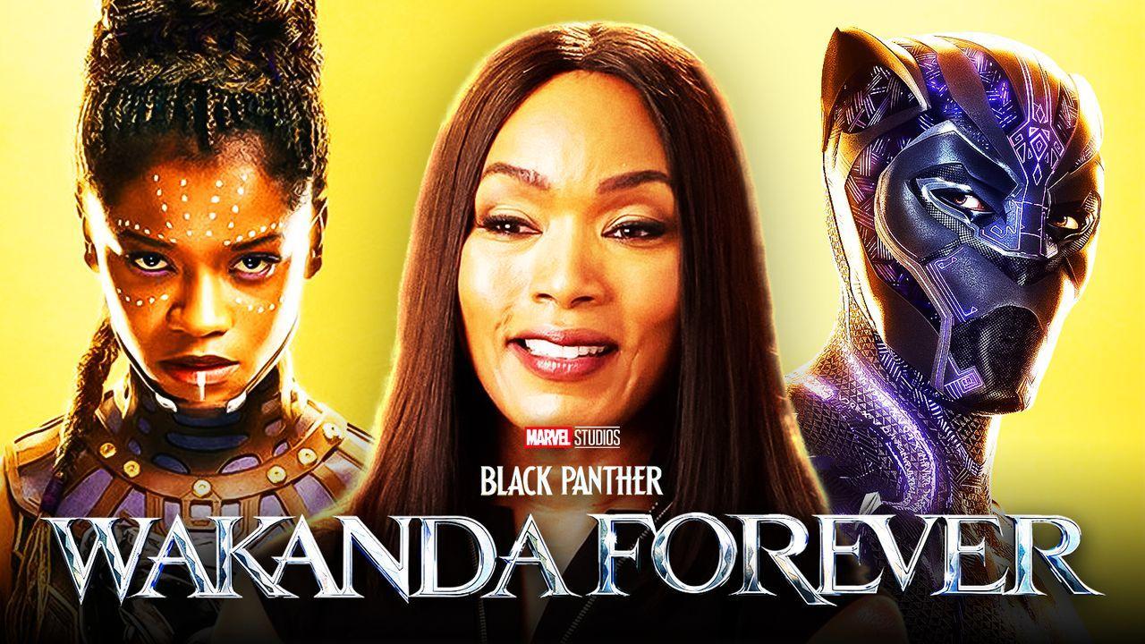 Angela Bassett, Letitia Wright as Shuri, Black Panther: Wakanda Forever logo