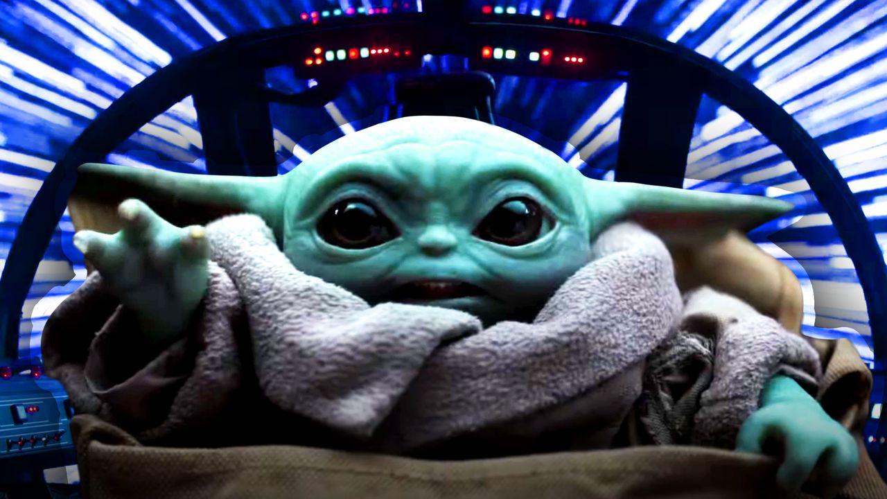 Baby Yoda, lightspeed background