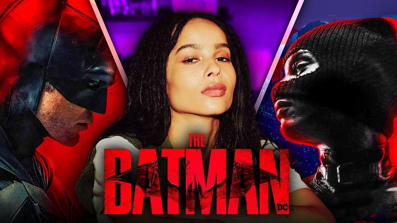 Robert Pattinson as Batman, Zoe Kravitz, Catwoman, The Batman logo