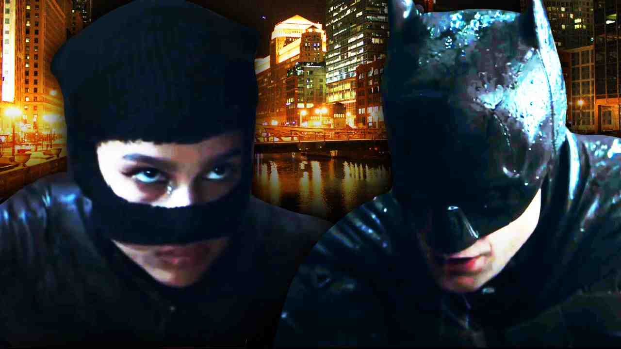 Catwoman on left, Batman on right with Chicago in background