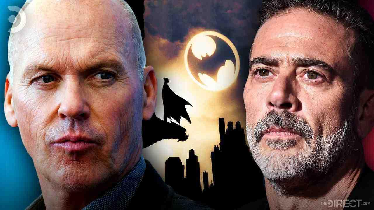 Michael Keaton on, Artwork of Batman's silhouette looking up at the Bat Signal, Jeffrey Dean Morgan