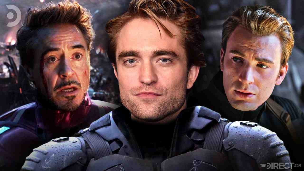Downey Jr as Tony Stark on left, Pattinson in batsuit at center, Chris Evans as Capt. America right
