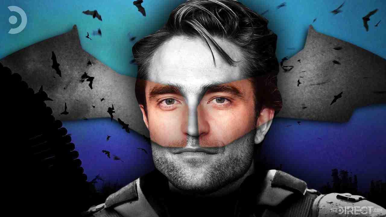 Robert Pattinson's The Batman in costume and overlaid by Batman symbol