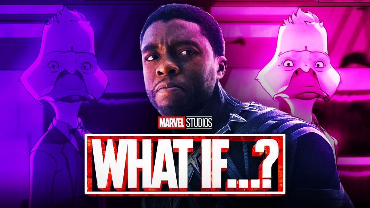 What If...? logo, Chadwick Boseman as T'Challa,  Howard the Duck
