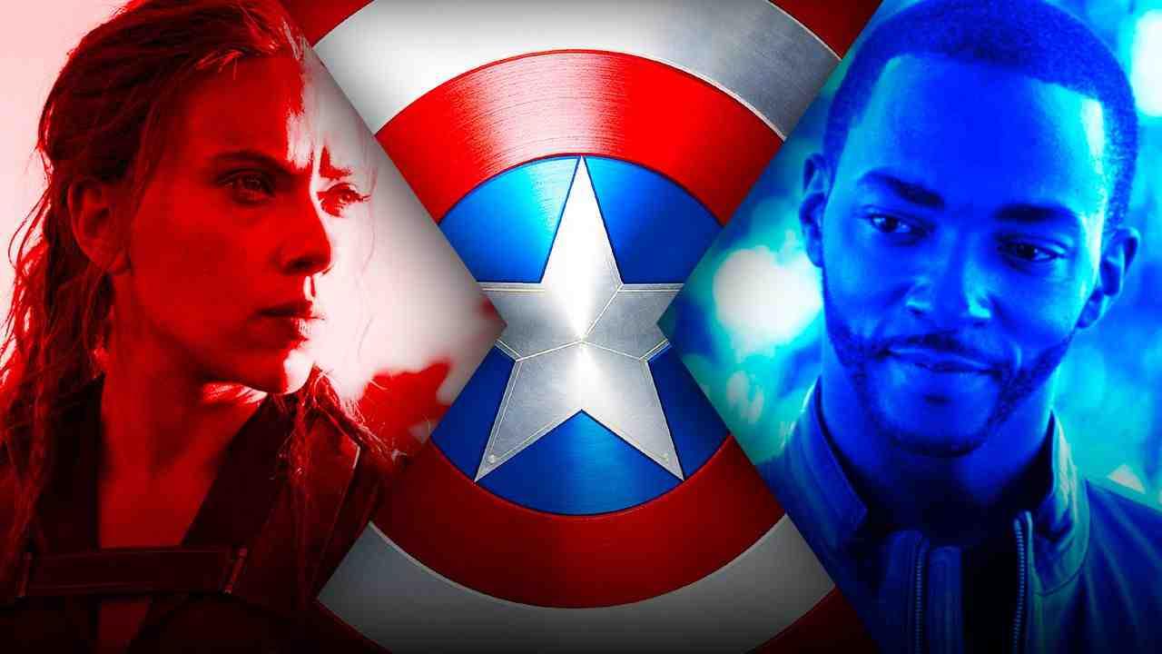 Black Widow, captain America shield, falcon