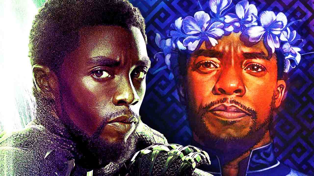 Chadwick Boseman on left, artwork of Boseman as T'Challa on right