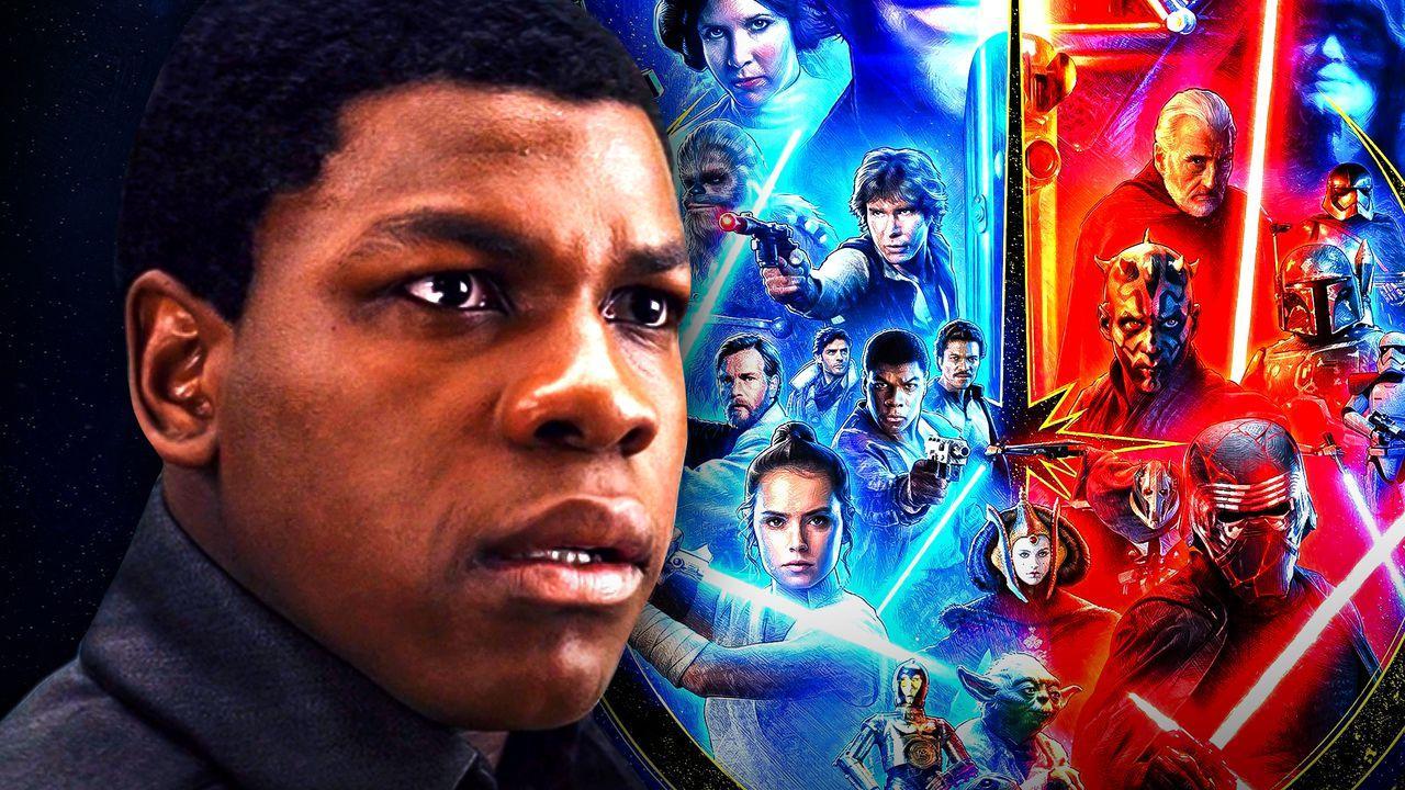 John Boyega beside Star Wars Poster