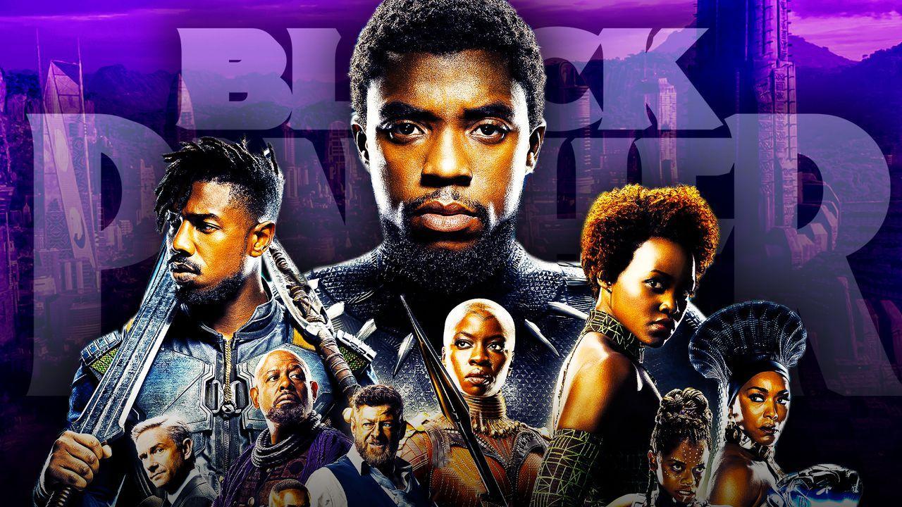 Chadwick Boseman as Black Panther, Black Panther logo, Black Panther cast