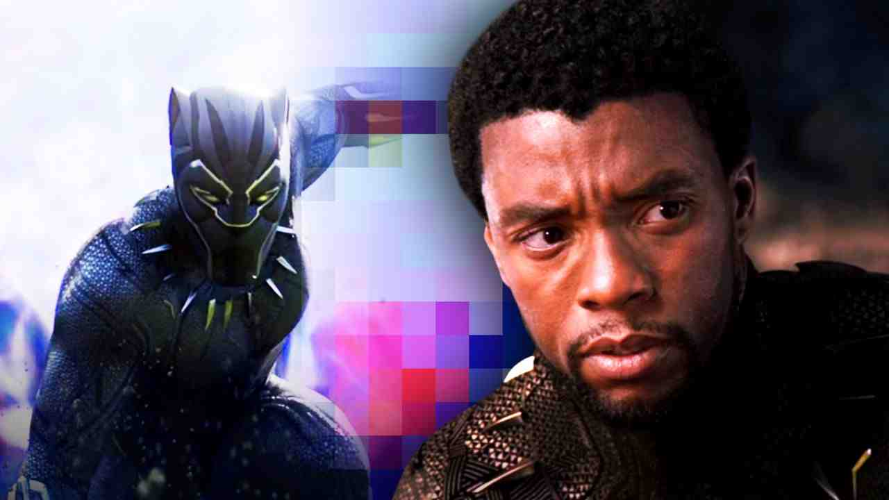 Digitized Black Panther on left and Chadwick Boseman on right
