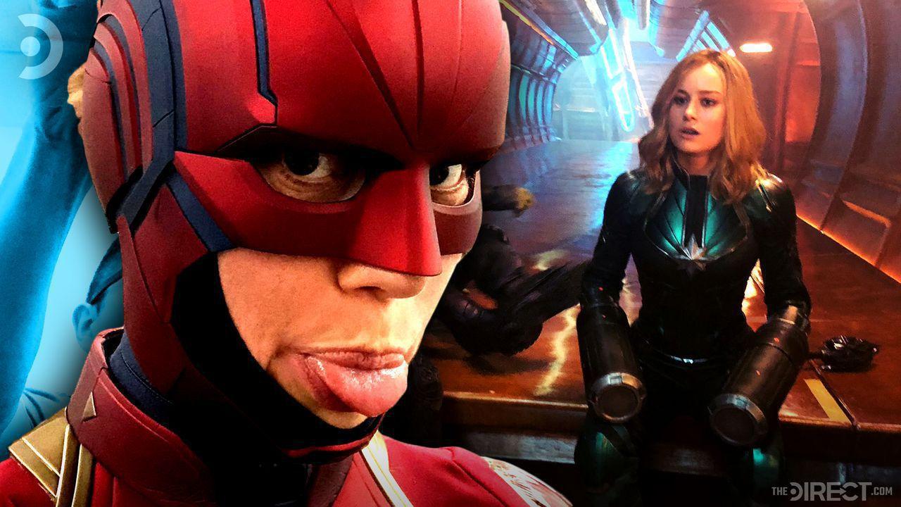 Brie Larson in Captain Marvel helmet, and Brie Larson in Captain Marvel Kree uniform.