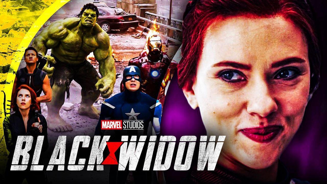 The Avengers team alongside Scarlett Johansson as Black Widow