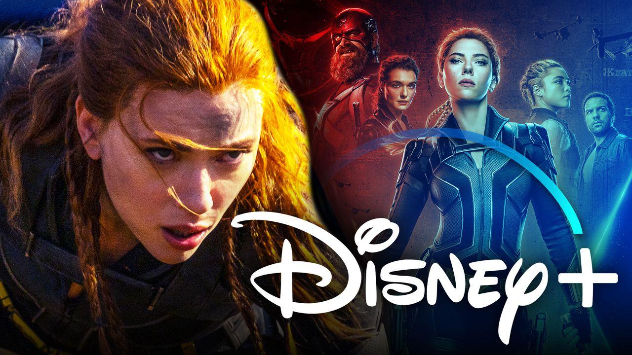 Scarlett Johansson Black Widow Disney+ logo
