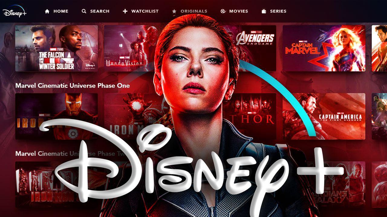 Black Widow Disney Plus logo