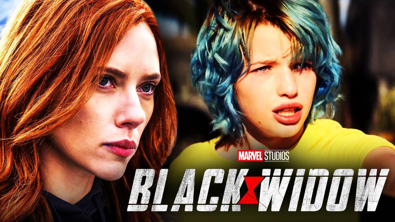 Scarlett Johansson as Natasha Romanoff, Black Widow logo