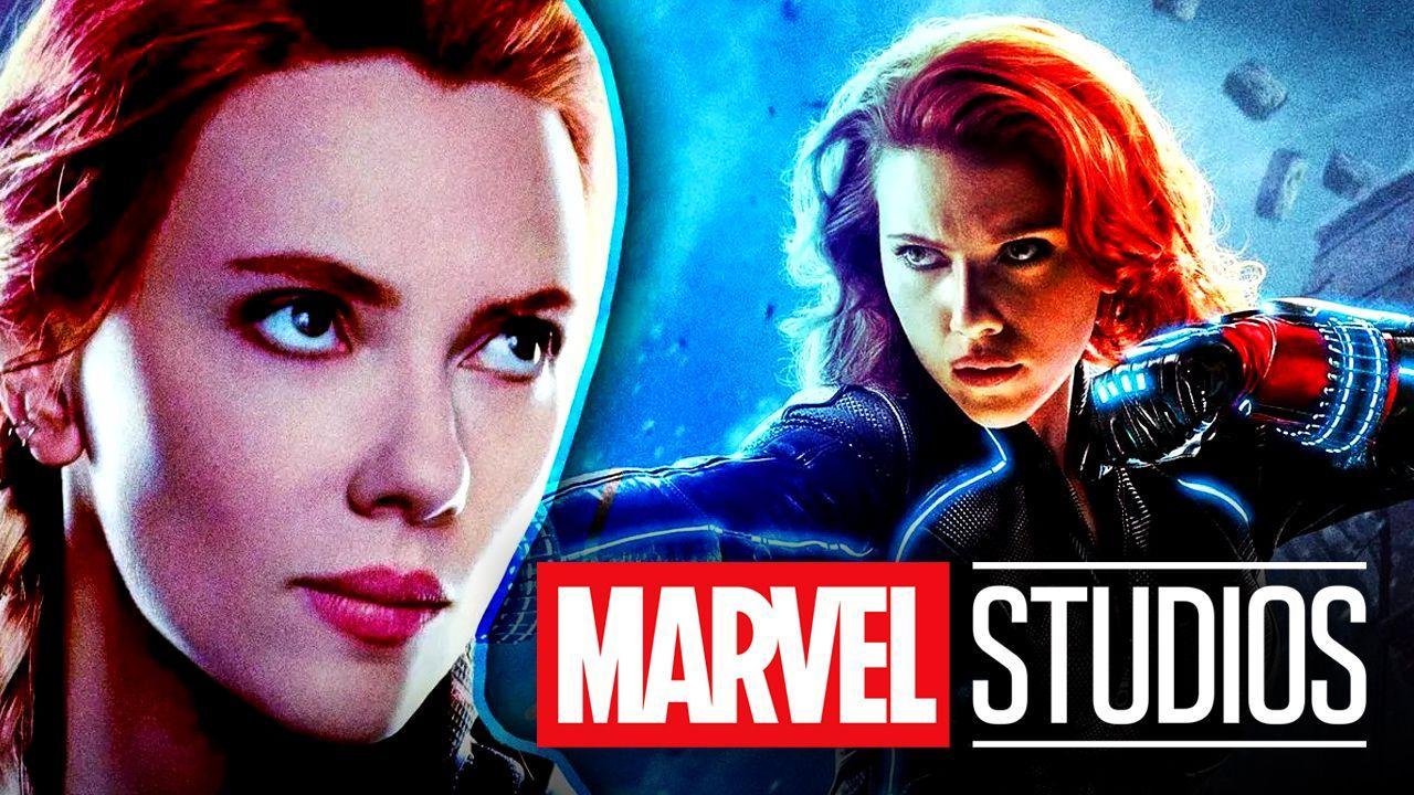 Scarlett Johansson Black Widow Marvel Studios logo