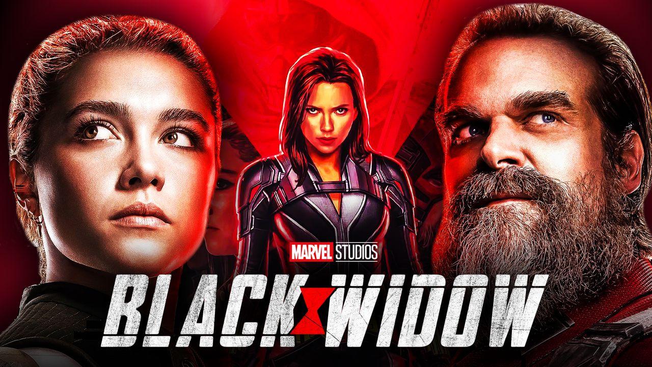 Black Widow, Yelena, and Red Guardian with Black Widow Logo