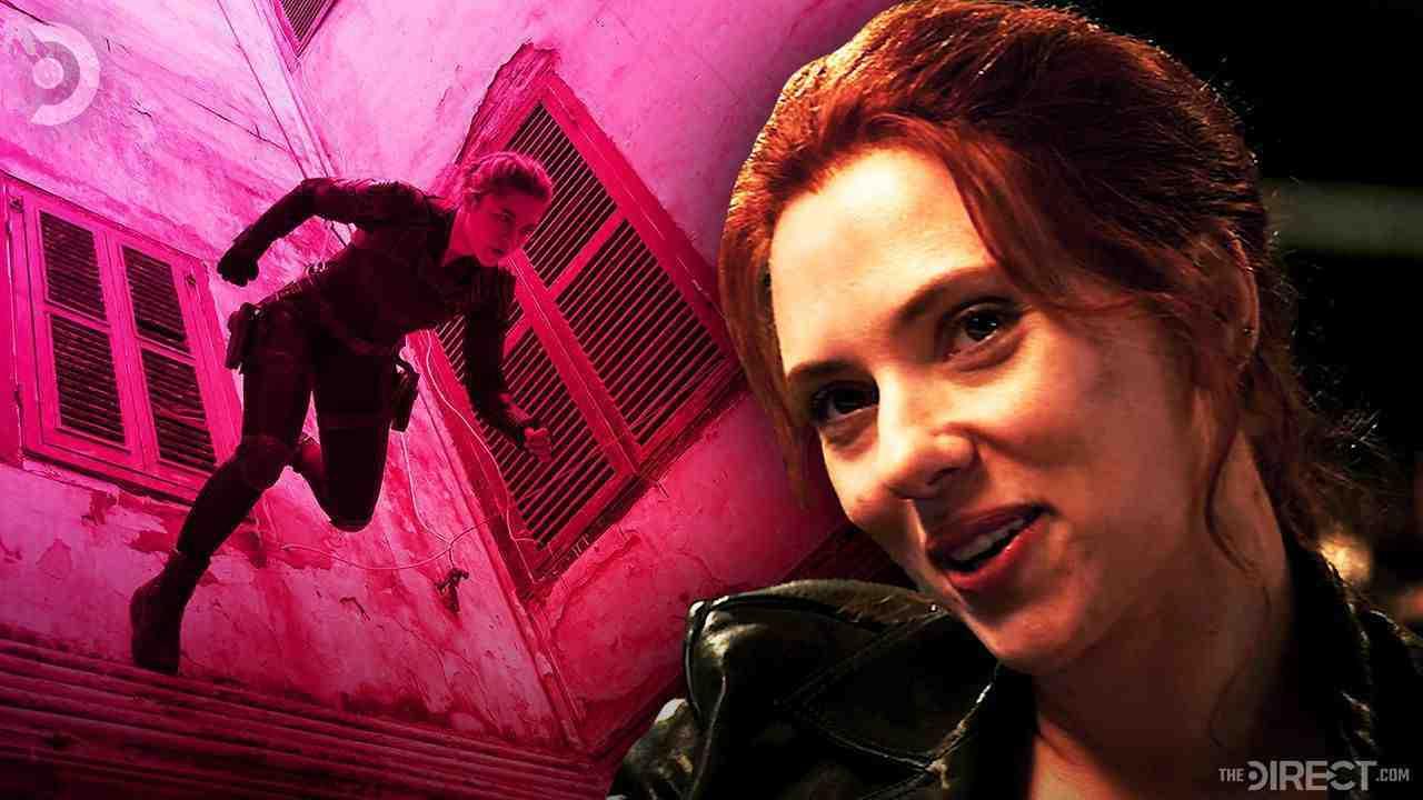 Black Widow action shot, Scarlett Johansson