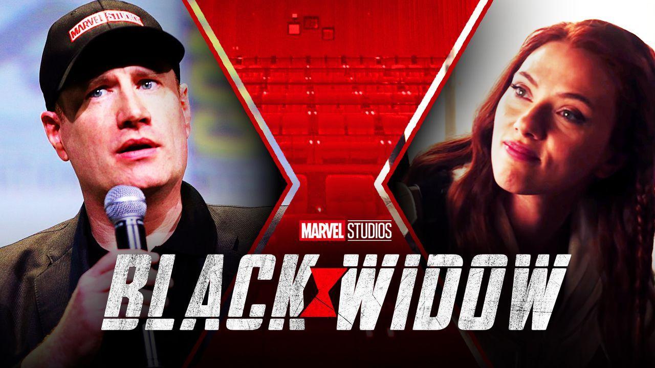 Scarlett Johansson as Black Widow, Kevin Feige, Marvel Studios Black Widow movie logo