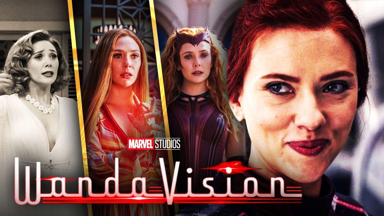 Scarlett Johansson as Natasha Romanoff, Elizabeth Olsen as Wanda Maximoff, WandaVision logo