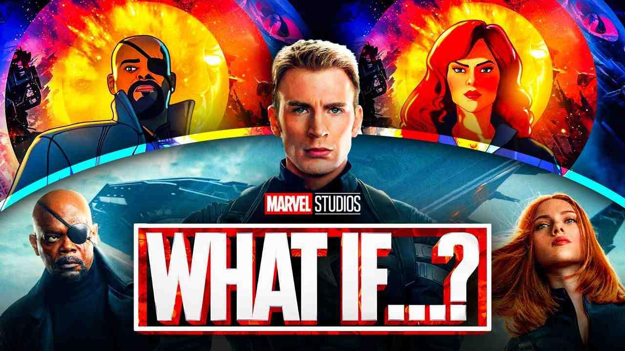 What If logo, Chris Evans as Captain America, Samuel L. Jackson as Nick Fury