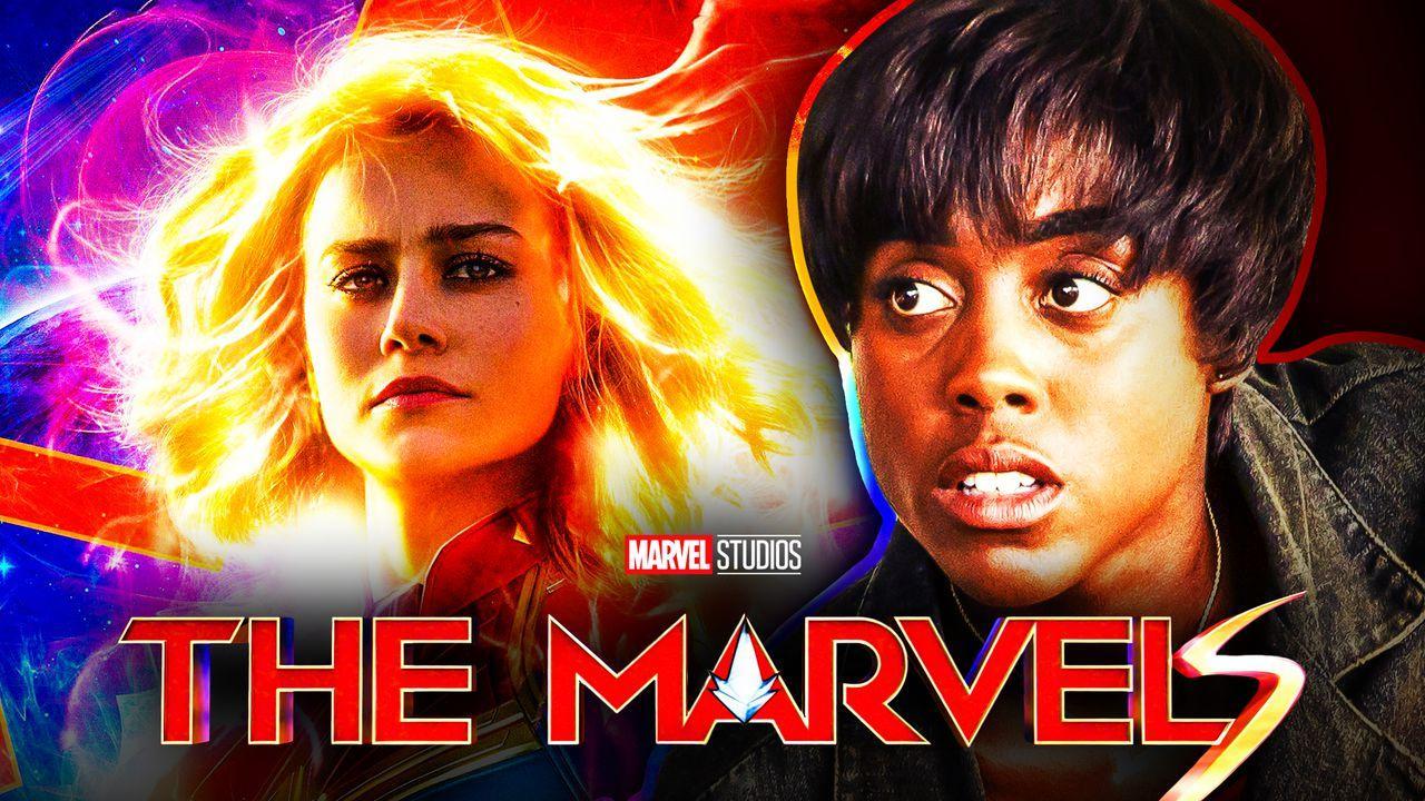 Brie Larson Captain Marvel, Lashana Lynch Maria Rambeau, The Marvels logo.