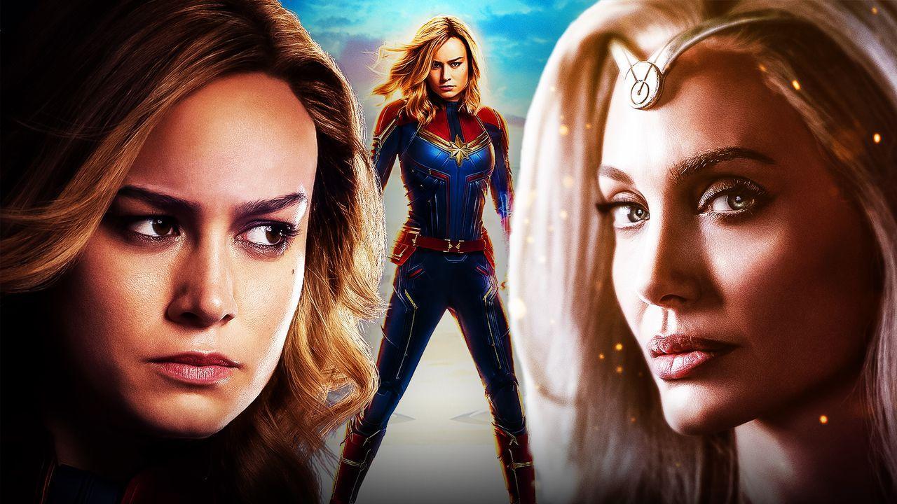 Angelina Jolie as Thena, Brie Larson as Captain Marvel